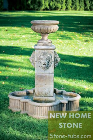 Outdoor Water Fountains For Home 4 Lions Faces Sculpture Garden Small Water  Fountains Natural Stone Hand