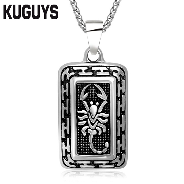 Kuguys scorpio jewelry rectangle large pendants stainless steel punk kuguys scorpio jewelry rectangle large pendants stainless steel punk hiphop accessories scorpion pendant necklace link chain mozeypictures Images
