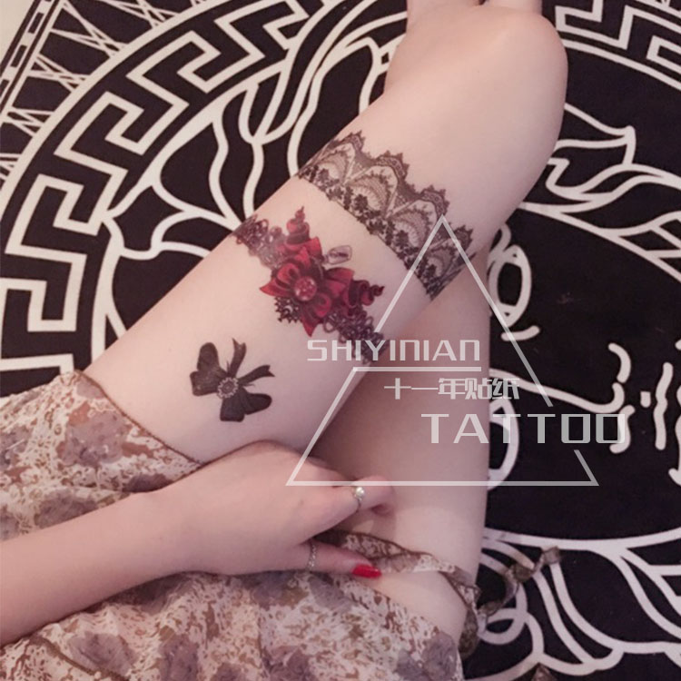 HD Women Large sex Tatoo/Temporary Sticker/Vintage cool Red bow leg ring Temporary Tattoo Stickers original Design tattoo 1