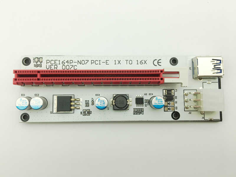 جديد 3in1 VER007C 60 سنتيمتر PCI-E الناهض بطاقة مع 4pin 6pin Sata موليكس الطاقة PCIe 1x إلى 16x موسع للتعدين بيتكوين Litecoin التعدين