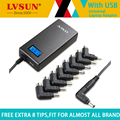 Lvsun 70 w fuente de alimentación de mini viajes adaptador universal del ordenador portátil ac de la energía del cargador con pantalla lcd para hp dell ibm lenovo cuadernos