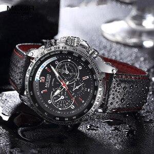 Image 3 - Megir Sport Heren Horloges Top Brand Luxe Quartz Mannen Horloge Mode Toevallige Zwarte Pu Band Klok Mannen Big Dial Erkek saat 1010