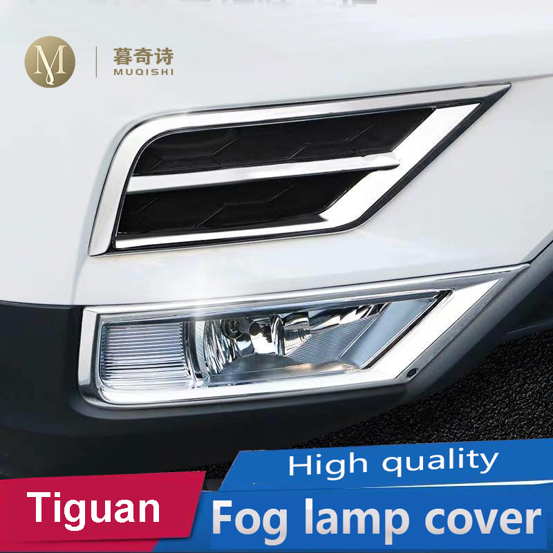 Car-styling Tiguan 2017 2018 For Volkswagen Tiguan 2 MK2 2016 Front Grill Fog Lights Lamps Frame Trim Stickers Cover Accessories