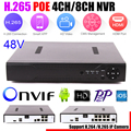 Motion detecção max 4 k h.265 hi3798 onvif ftp 4ch poe nvr 5mp 4 Portas PoE 8CH 4MP 8 Portas PoE IEEE802.3af DC48 V CCTV PoE NVR