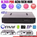 ONVIF FTP Motion Обнаружения Макс 4 К HI3798 H.265 PoE NVR 4CH 5MP 4 Портов PoE 8-КАНАЛЬНЫЙ 4MP 8 Портов PoE IEEE802.3af DC48 V CCTV PoE NVR