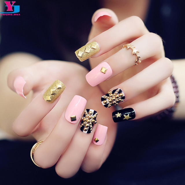 24pcs Set Fashion Pink Flag Glitter Gold Metallic False Nails 3d Rivet Artificial Long Nail Art