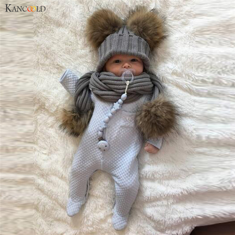 1 Set Autumn Winter Crochet Pompons Hat Girl Boy Beanie Cap Hats Hat Scarf Collars,gorros oc18