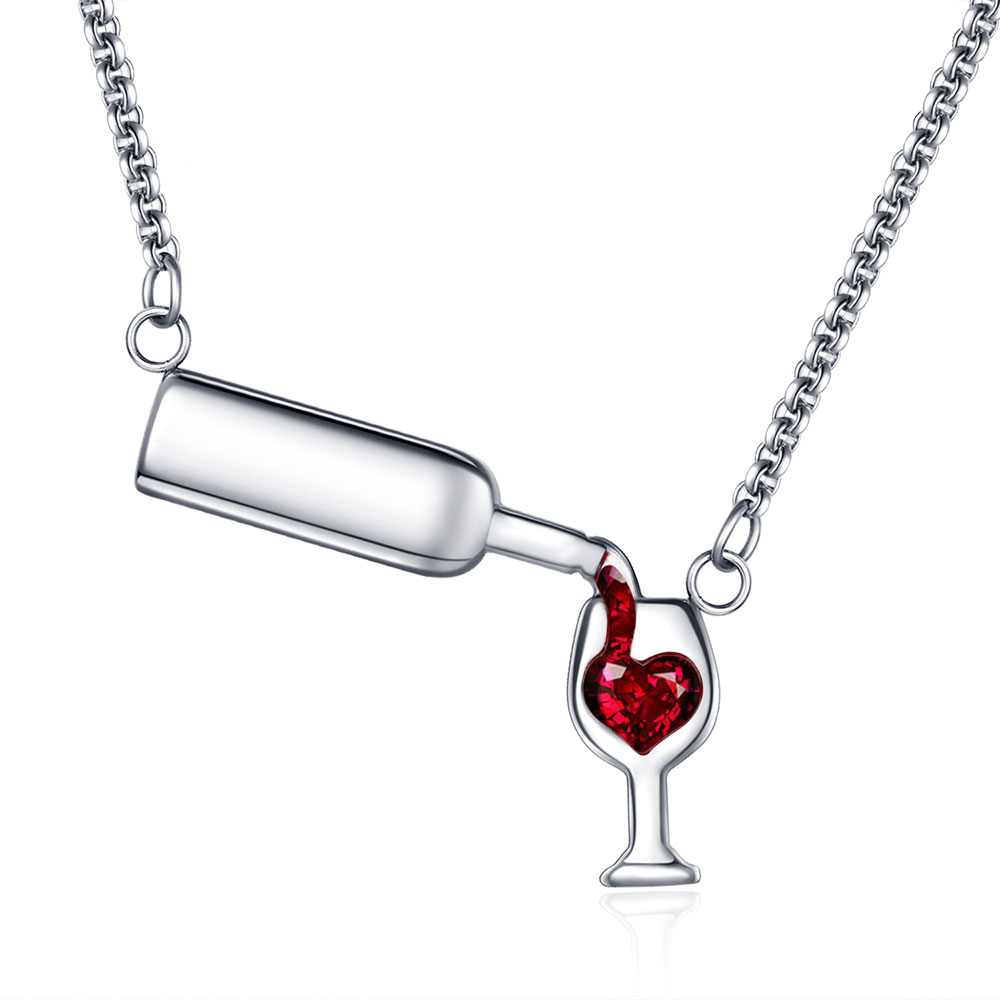 ZPAMS Pendant Necklace Gold-Chain Gift Wine-Glass Stainless-Steel Silver-Color Cubic-Zirconia