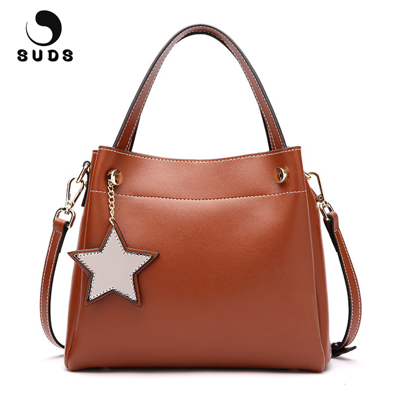 SUDS Brand Genuine Leather Women Small Bucket Bags Designer Handbags High Quality Female Large Capacity Messenger Crossbody Bags 100