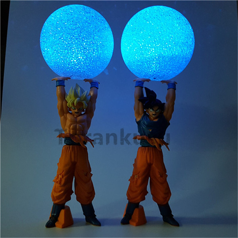 Anime Dragon Ball Z Action Figure Son Goku Super Saiyan Spirit Bomb Led Light Dragon Ball Z Model Toy DBZ Son Goku anime dragon ball z son goku action figure super saiyan god blue hair goku 25cm dragonball collectible model toy doll figuras