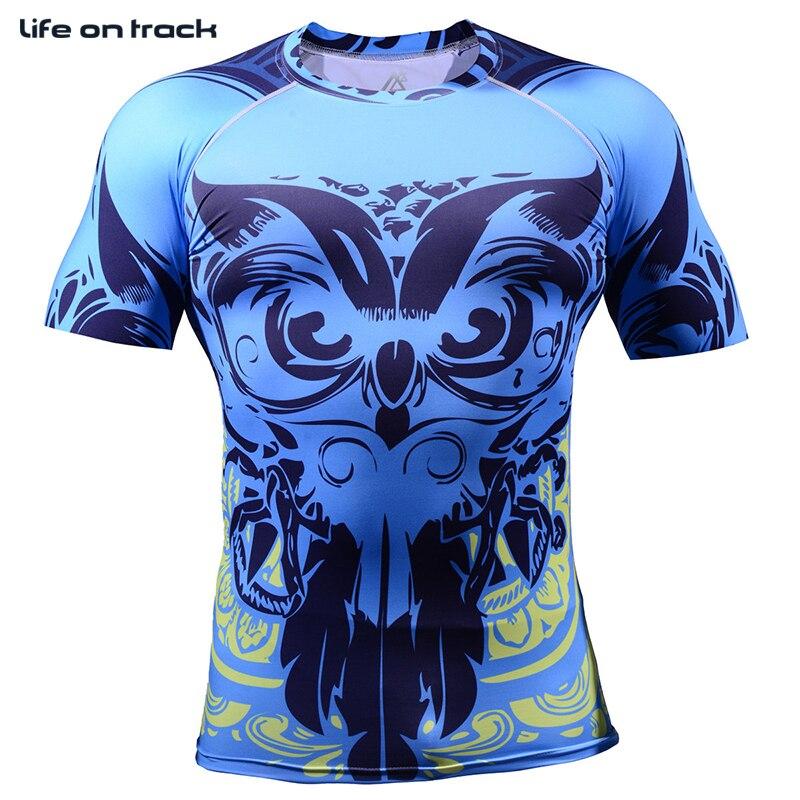 2016 hommes impression complète course chemises poids Liftng Fitness Compression couche de Base musculation collants course vêtements 4XL