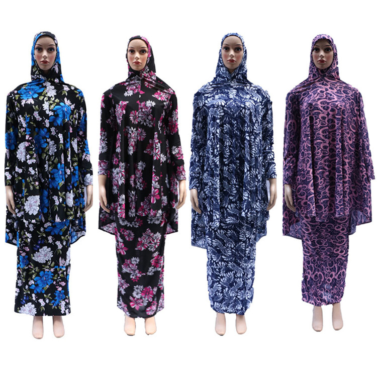12 pieces lot New Style Women Kaftan Muslim printed abaya two peices big hijab with