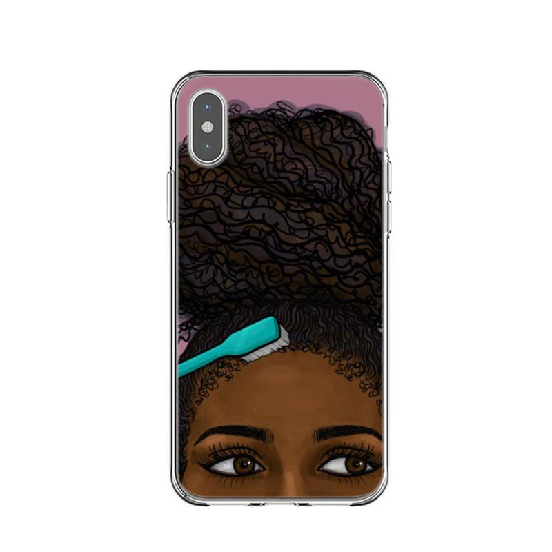 official photos 2dd44 7a200 Afro Black Girl Magic Melanin Phone Case For iPhone X XR XS MAX Soft  Silicone TPU Phone Cover For iPhone 5s SE 6 6s 7 8 Plus
