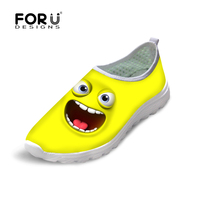 FORUDESIGNS Summer Lightweight Women Casual Shoes Zapatos Mujer Mesh Shoes 3D Funny Emoji Face Prints Breathable
