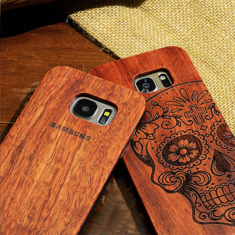 BROEYOUE Case For Samsung Galaxy S8 S9 S7 S6 Edge Plus Note 3 4 5 8 Retro Bamboo Natural Wood Cases For iPhone 5S 6S 7 8 Plus X