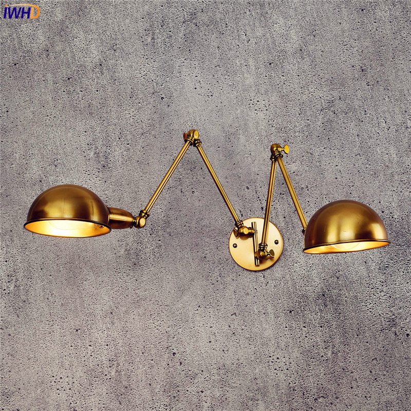 IWHD Copper Loft Industrial Wall Light Fixtures Wandlampen Swing long Arm Wall Lamp Vintage Retro Edison Sconce Lampara Pared loft industrial adjustable swing long arm wall lamp retro vintage wall light fixtures edison led wall sconces apliques pared