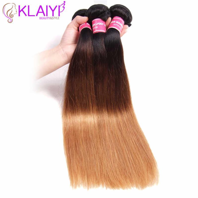 KLAIYI волос Ombre пучки бразильских локонов 1B/4 #/27 пряди человеческих волос для наращивания три тона волосы remy Прямые Связки 16-26 дюймов