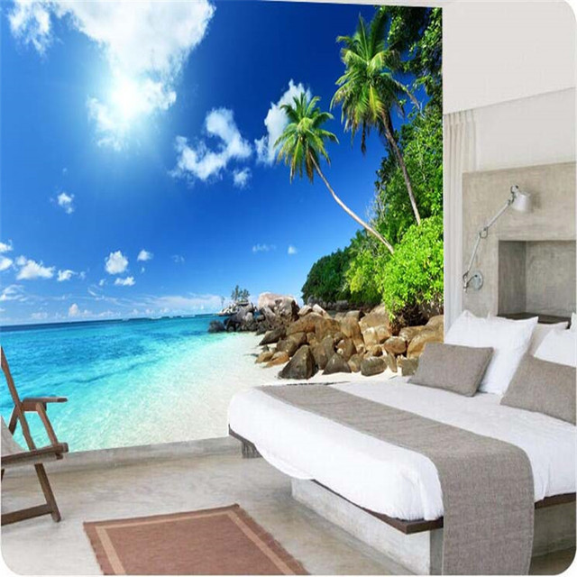 Photo Wallpaper High Quality 3d Painting HD Sea Bedroom Mural Continental  Palm Beach Living Room Large Part 48