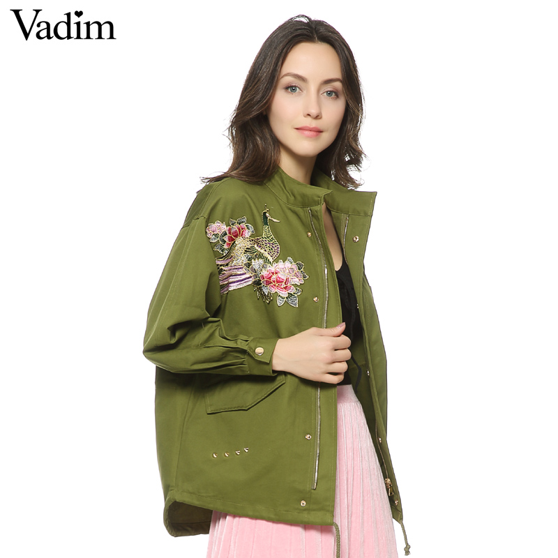 Vadim Women Floral Embroidery Bomber Jacket Patched Rivet Design Loose Flight Jackets Casual Coat Punk Outwear Capa CT1285