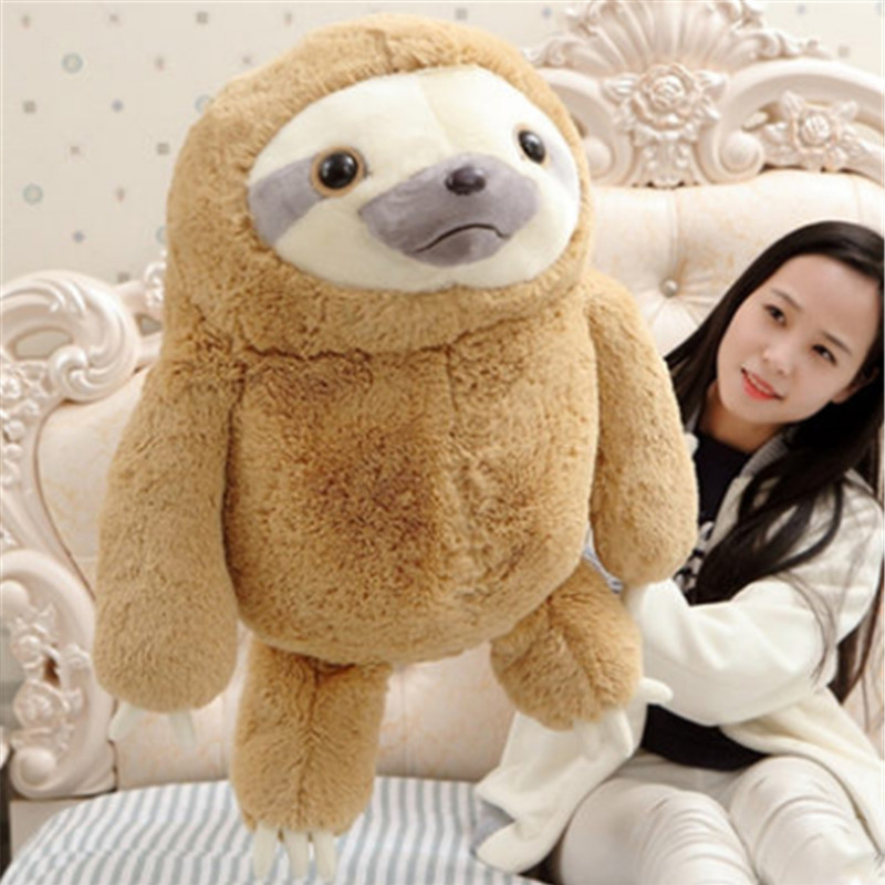 Fancytrader Pop Anime 70cm Giant Plush Soft Stuffed Emulational Animal Sloth Toy Nice Kids Gift Doll fancytrader 2015 new 31 80cm giant stuffed plush lavender purple hippo toy nice gift for kids free shipping ft50367