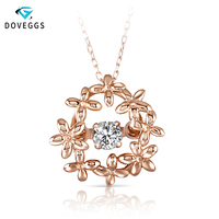 DovEggs 10K Rose Gold 0.1ct carat Rose Gold Diamond Pendant Necklace For Women Flower Shaped Dancing Diamond Link Chain Necklace
