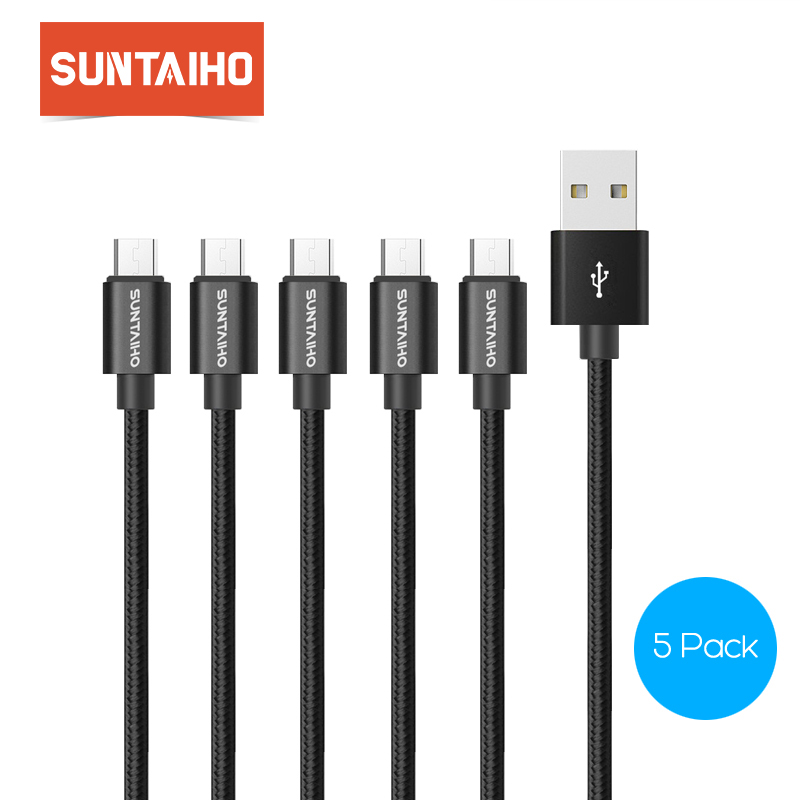 Suntaiho 5Pack Nylon Metal Micro USB Cable Fast Charger Mobile Phone 5V/2.1A Android USB Cable for Xiaomi HTC LG Samsung