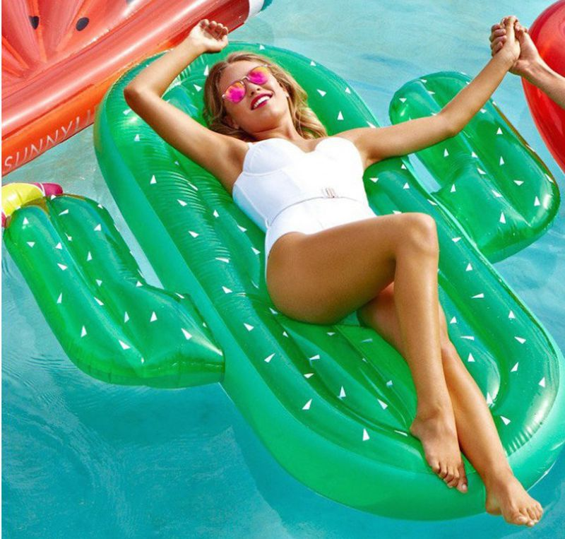Hot! 180cm 70inch Huge Inflatable Cactus Pool Float Inflatable Island Beach Air Mattress For Swimming Pool Water Sports Fun Toy