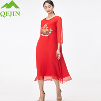 2018 summer dresses nature silk women bohemian beach dress O neck loose pregnant lady dresses embroidery flora female plus size