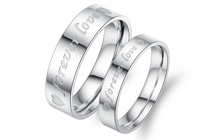 09c6a19759 Free Customized Engraved Couple Rings For Lover Stainless Steel FOREVER LOVE  Romatic Valentine's Day Gift GJ030-in Rings from Jewelry & Accessories on  ...