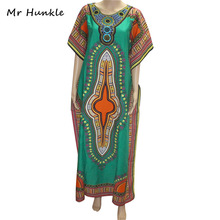 Mr Hunkle New Fashion Women's Dashiki Dress Cotton African Print Maxi Vestidos Robe Africaine Femme Dashiki Dress Men