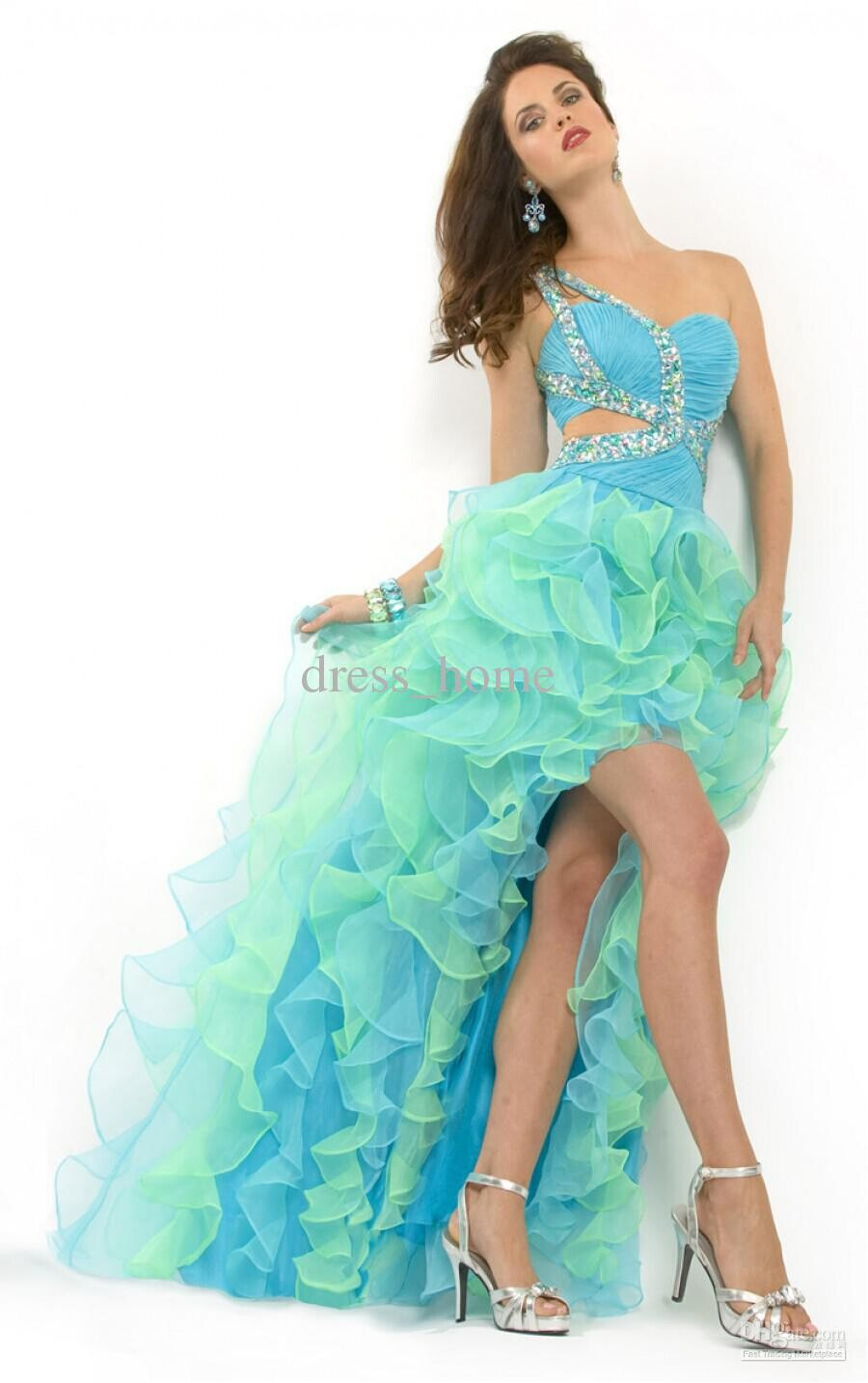 new hot sexy backless vestido de festa vestido longo 2016 free Shipping ruffles crystal beading evening gown party   prom     Dresses