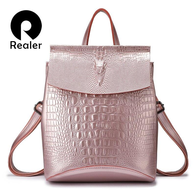 REALER mode femmes sac à dos de haute qualité en cuir fendu bandoulière sac à bandoulière femme crocodile imprimé grand sac multifonctionnel