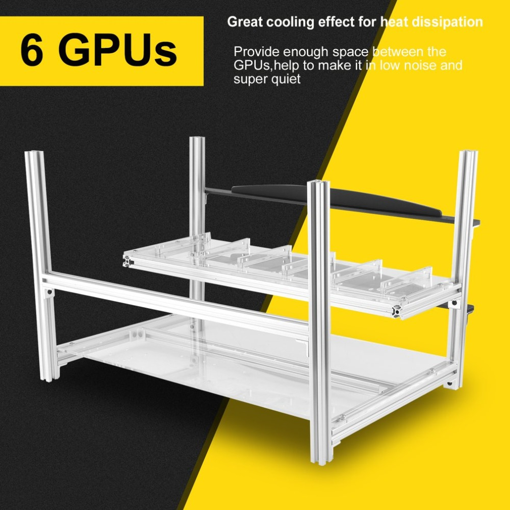 New High Quality Excellent 6 GPU Open Air Stackable Mining Rig Case Frame Stable Support Up To 6 GPU A Style Miner Rack Bracket 28 6 37