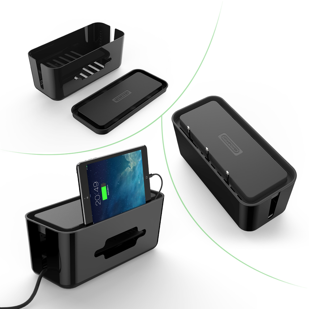 Image 5 - NTONPOWER RMB Hard Plastic Desk Organizer Cable Winder Container Case Power Strip Storage Box and Dustproof Cover for HomeSafety-in Cable Winder from Consumer Electronics
