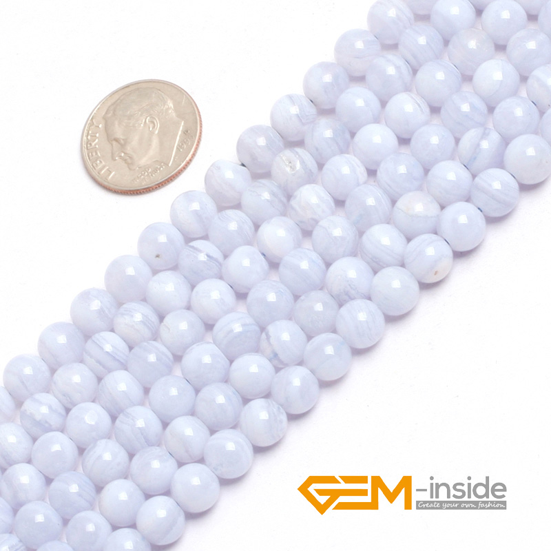 """Image 2 - Natural Stone Blue Chalcedony Round Beads For Jewelry Making Strand 15"""" DIY Bracelet Necklace Jewelry Bead 6mm 8mm 10mm 12mm-in Beads from Jewelry & Accessories"""