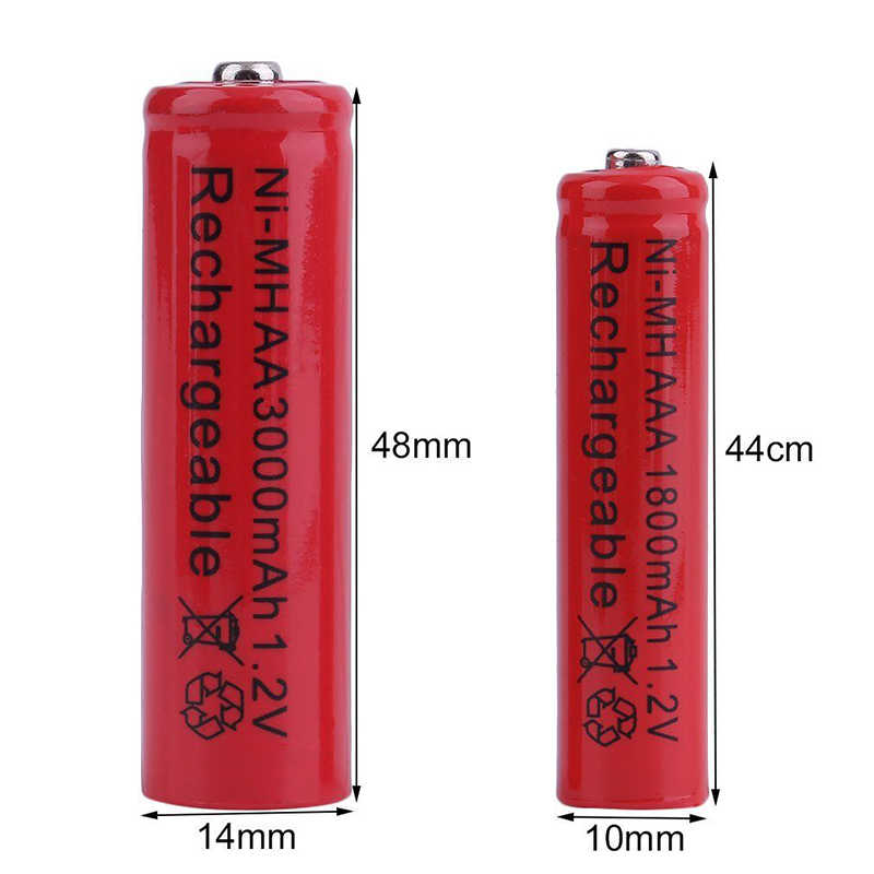 GTF 1.2V 3000mAh AA battery Or 1800mAh AAA 1.2V Ni-MH rechargeable battery for Toy Remote control Rechargeable Batteries