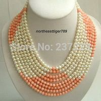 HOT## Wholesale XSZ2014 ^^8 Rows Real Pink Coral White Pearl 18KWGP Clasp Necklace