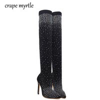 Autumn Women Spring Boots Platform High Heels Pointed Toe Pumps Over The Knee Boots Rhinestone Pumps