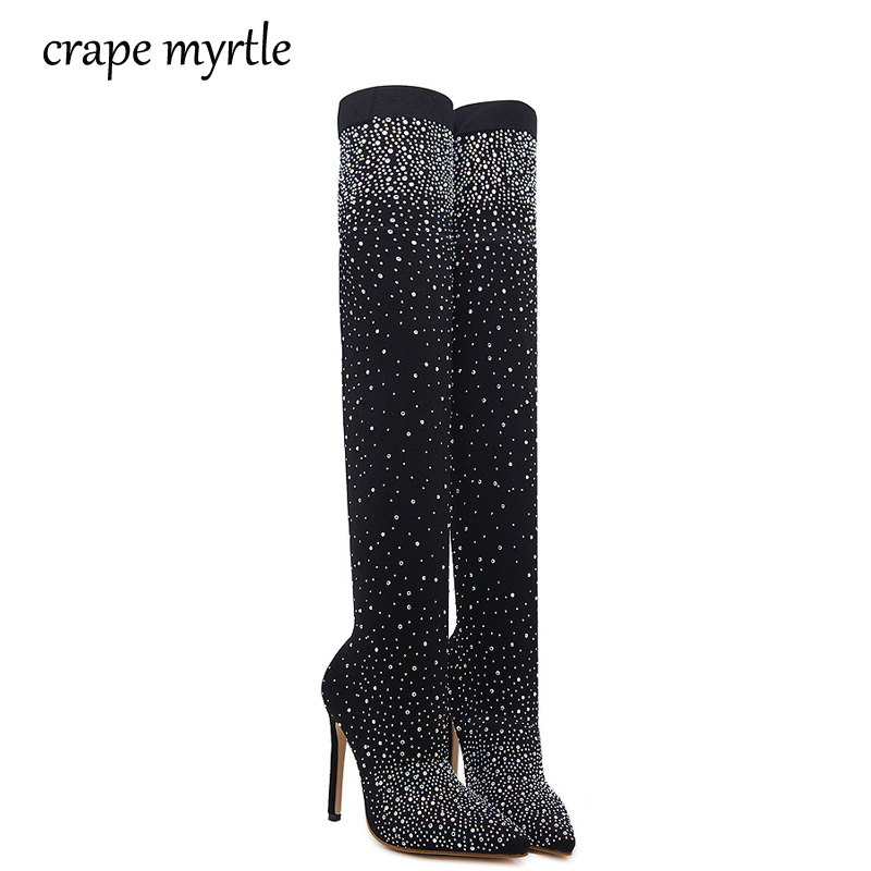 Autumn women Spring boots platform high heels pointed toe pumps Over The Knee Boots rhinestone pumps High Heels Boots YMA232 large size women spring autumn denim knee high boots high heels buckle strap metal decoration pointed toe platform boots