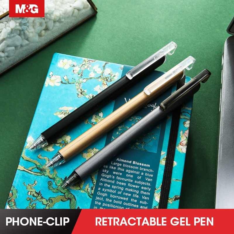 0.5mm Roller Ball Pen Signature Pen Retractable Sping Pens Blue Ink Office Gift