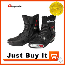 Great Quality 2016 THE NEW Black Red White Anti-collision Motorcycle shoes Skid Racing boots Knight boots Premium leather
