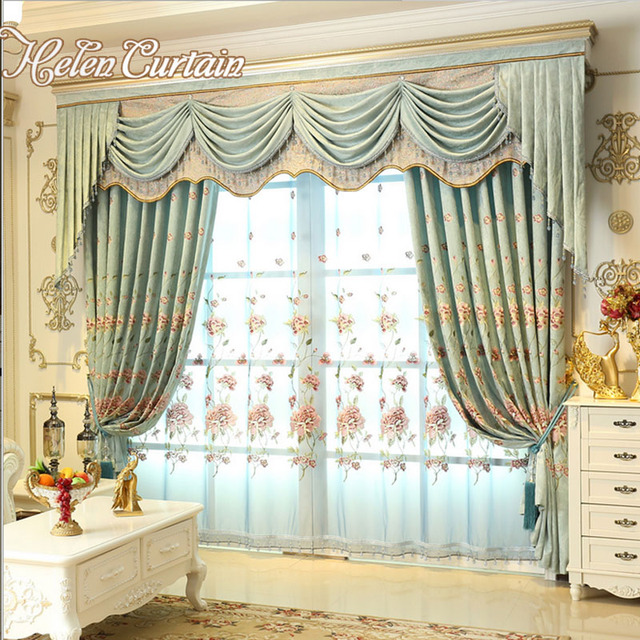 High quality European embroidered luxury blackout curtains thick ...