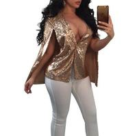 Sequined Bling bling Cocktail Party Women's Coats Sleeveless Club Tops Stitch Jackets WS5693Z