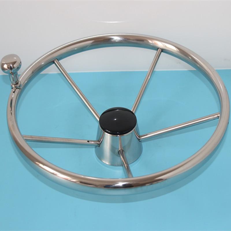 Marine 13.5'' Stainless Steel Destroyer Boat Steering Wheel 5 Spoke With Knob