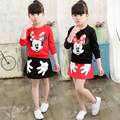 Girls Clothing Sets 2017 New  Girls clothes Mickey Pattern Print Kids clothes T-shirt + Skirt Children clothing