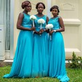 Sparkly Azul Da Dama de Honra Vestidos de 2016 Tripulação Pescoço Applique Frisado Chiffon Festa de Casamento Longo Vestidos Prom Vestidos