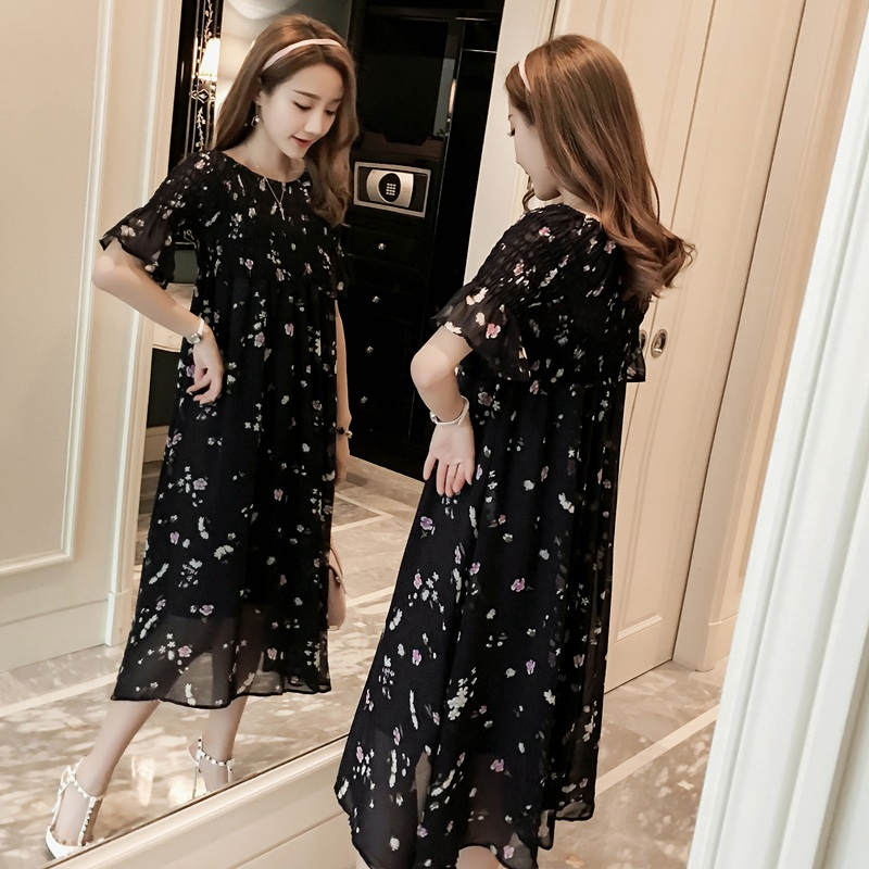 2019 spring and summer elastic high waist two-piece pregnant women long floral large swing skirt pregnancy dress2019 spring and summer elastic high waist two-piece pregnant women long floral large swing skirt pregnancy dress