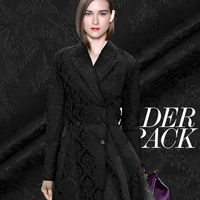 CF325 The New Fashion Solid Black Floral Jacquard Fabric For Women Suit Trouser Coat Formal Dress
