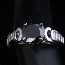 Delicate Round Black Gems White Cubic zirconia 925 Sterling Silver Women's Fashion Jewelry Rings Size 6 7 8 9 S1805