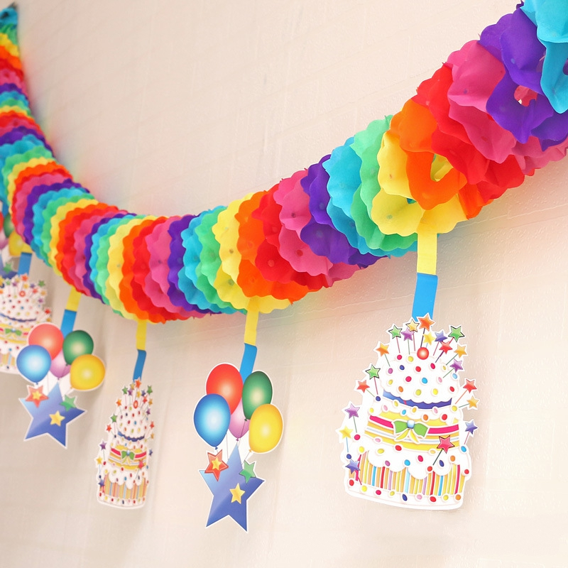 3m Rainbow Cake Garlands Wedding Decoration Venue Layout Studio Photo Props Hanging Wall